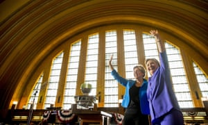 Hillary Clinton, Elizabeth WarrenDemocratic presidential candidate Hillary Clinton, accompanied by Sen. Elizabeth Warren, D-Mass., left, waves after speaking at the Cincinnati Museum Center at Union Terminal in Cincinnati, Monday, June 27, 2016. (AP Photo/Andrew Harnik)