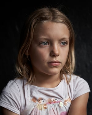 A young girl in a T-shirt