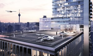 An artist's impression of Lilium's flying cars in action.