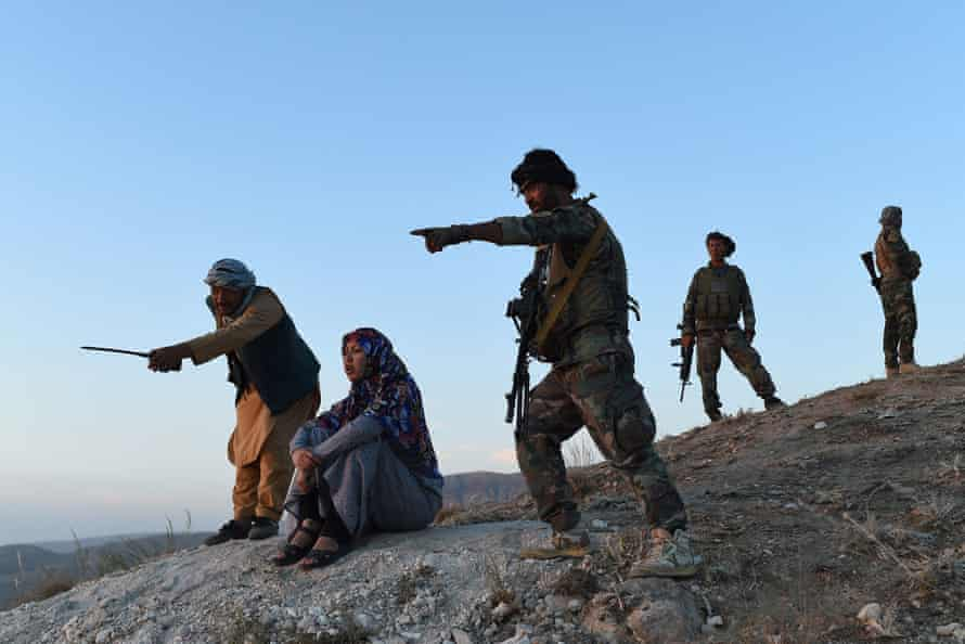 Salima Mazari watches the fighting in Charkint. The Taliban have made sweeping gains across the northern provinces in recent weeks.