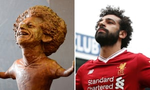 The sculpture of Liverpool and Egypt football player Mohamed Salah at the World Youth Forum in Sharm El-Sheikh, Egypt, and image of Salah celebrating a goal against West Bromwich Albion, April 2018