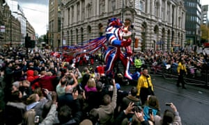 The TeamGB lion leads the parade.