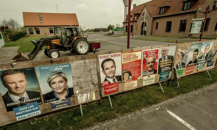 Election posters in Eecke, northern France.