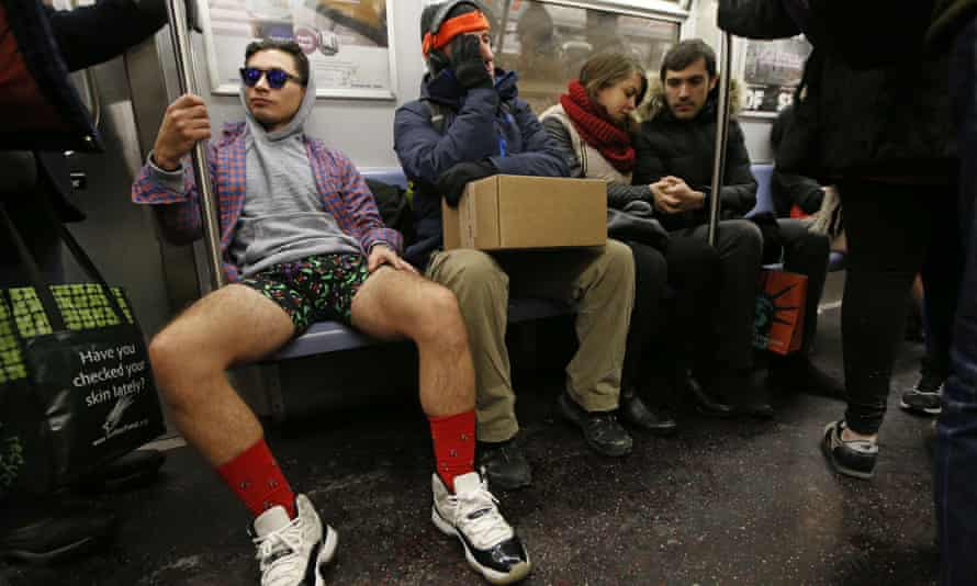 A subway rider goes pantless in New York.