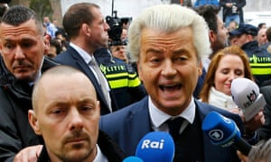 Geert Wilders, leader of the Freedom party, campaigns in Spijkenisse, a suburb of Rotterdam, on Saturday.