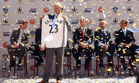 David Beckham at his unveiling as a Galaxy player in 2007