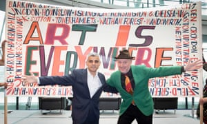 Sadiq Khan with the artist Bob and Roberta Smith at the launch of the project.