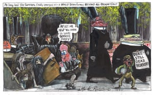 Martin Rowson cartoon 13.4.21: people emerge into sunlight as politicians mourn and Cameron grifts