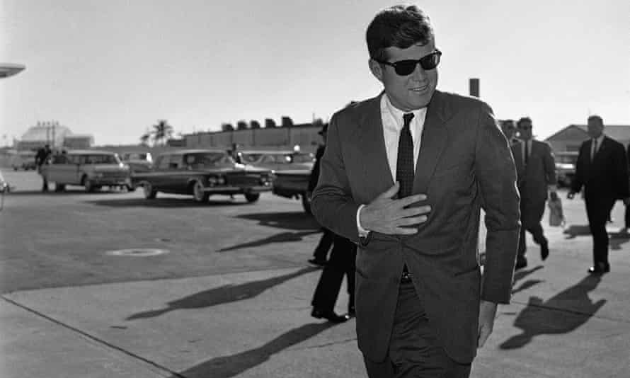 President John F Kennedy heads for Washington after a stopover in Florida in December 1961.