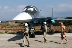 Russia's Sukhoi Su-34 fighter jet at an airbase at Latakia
