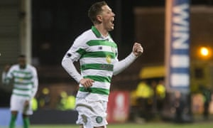 Callum McGregor celebrates scoring the second goal for Celtic against Partick Thistle.
