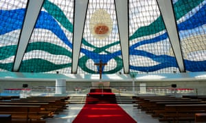 See the light: the main altar and glass roof of the Cathedral of Brasília.
