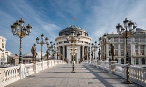 Skopje's Arts Bridge is lined with statues