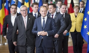 Jean-Claude Juncker, the president of the European Commission (L) and Donald Tusk, the president of the European Council at the EU summit