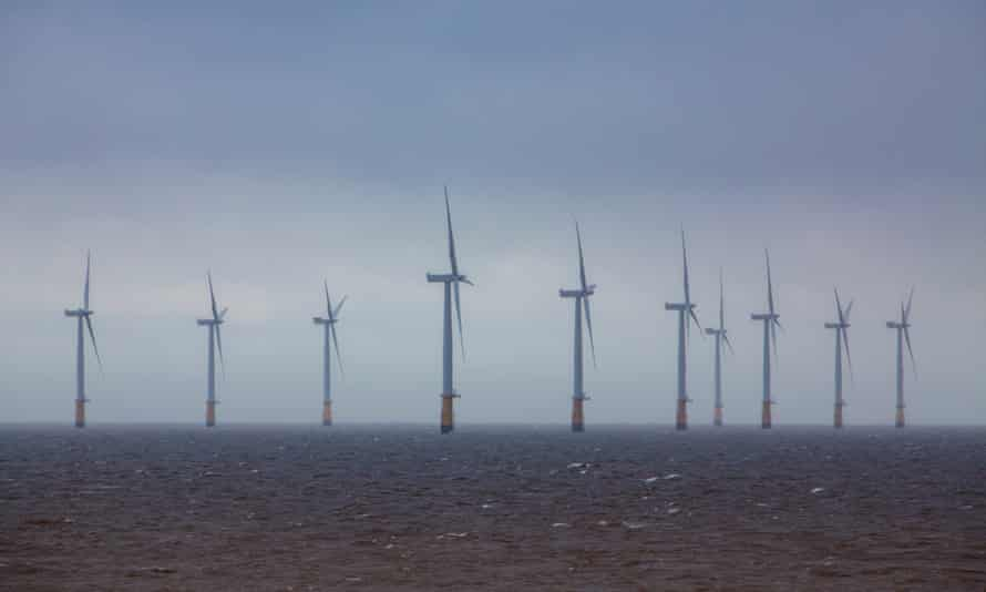 A windfarm in the North Sea off Skegness