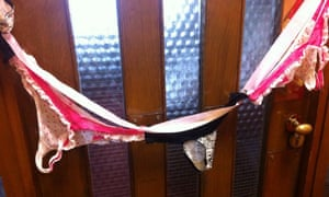 The string of underwear was hung outside the office of MP Sir Christopher Chope on Monday.