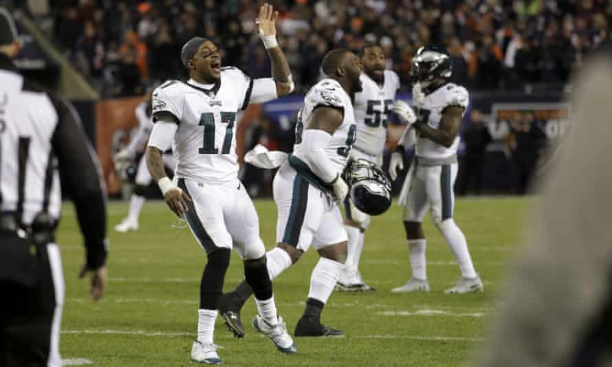 Eagles wide receiver Alshon Jeffery and teammates celebrate after Chicago Bears kicker Cody Parkey misses a field goal to seal the game for Philadelphia
