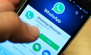 WhatsApp being used on a phone