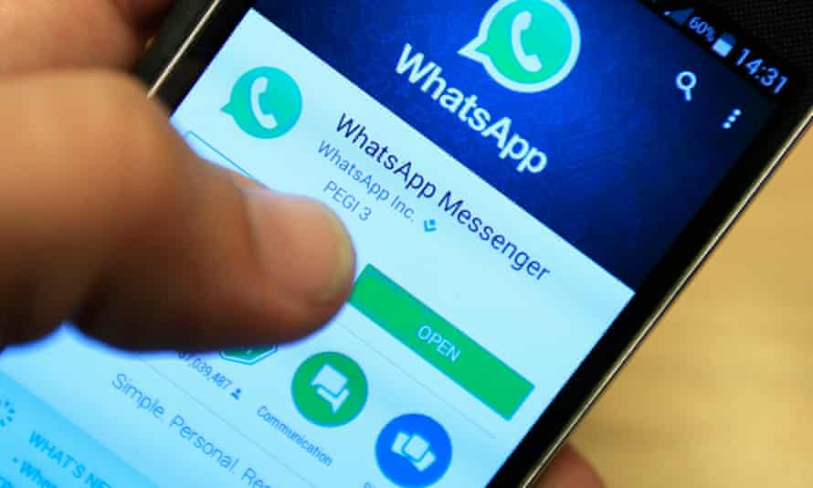 Whatsapp being used on a mobile phone
