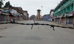 The security lockdown in Srinagar, Kashmir's main city.