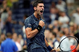 Novak Djokovic of Serbia celebrates after defeating John Millman of Australia in New York, US