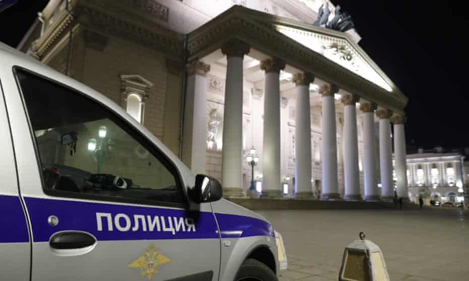 A police car outside Moscow's Bolshoi theatre.