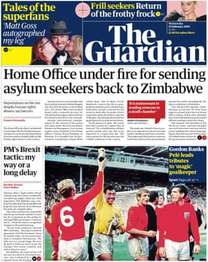 Guardian front page, Wednesday 13 February 2019