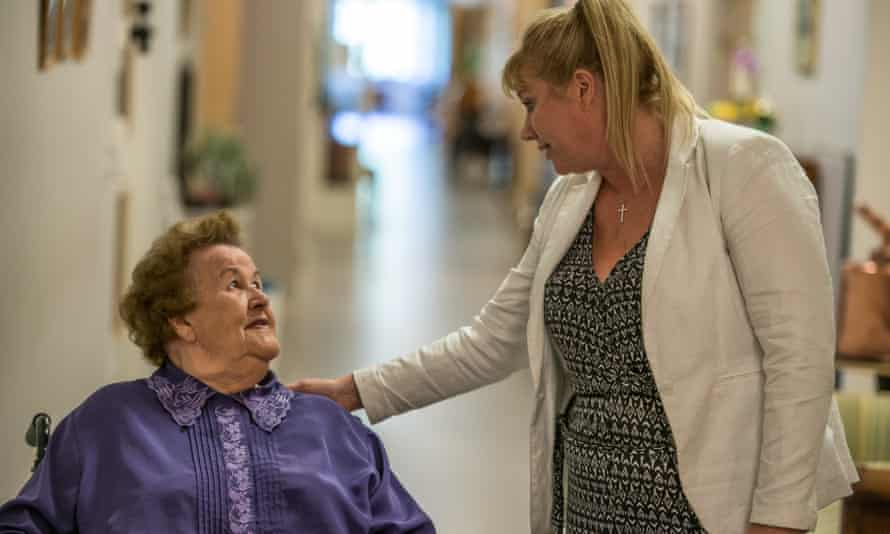 A resident and carer at Svartedalens retirement home