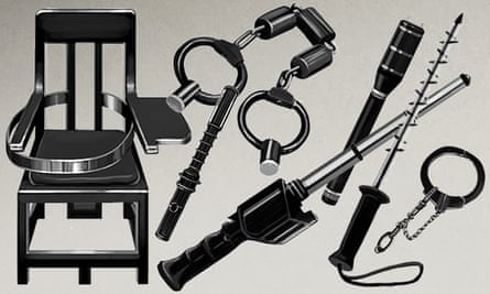A composite showing illustrations of weapons allegedly used in China for torture and forced confessions.