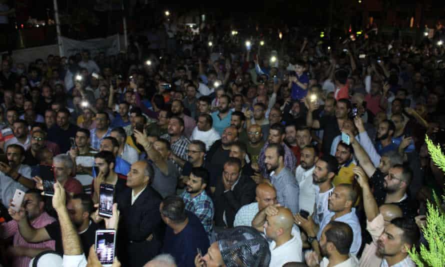 Jordanian teachers protest in Irbid over the shutdown of their union.