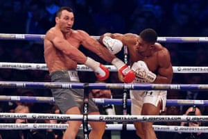 Joshua lands a left hook early in round five, sending Klitschko to the canvas.