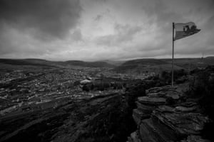 Mynydd Dinas, above Tonypandy, looking along the famous Rhondda Valley. The area was once the heart of Welsh coal mining