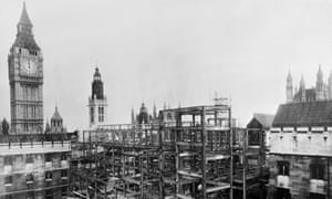 The House of Commons which was seriously damaged by the Blitz bombings during the Second World War is under reconstruction in January 1948.