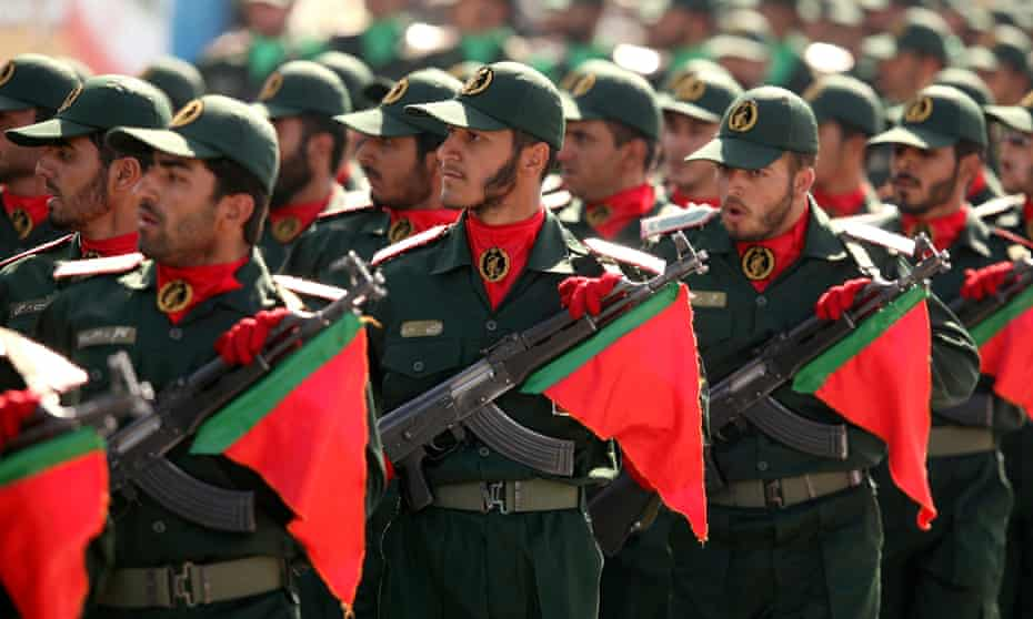 Members of Iran's revolutionary guard on parade in Tehran.