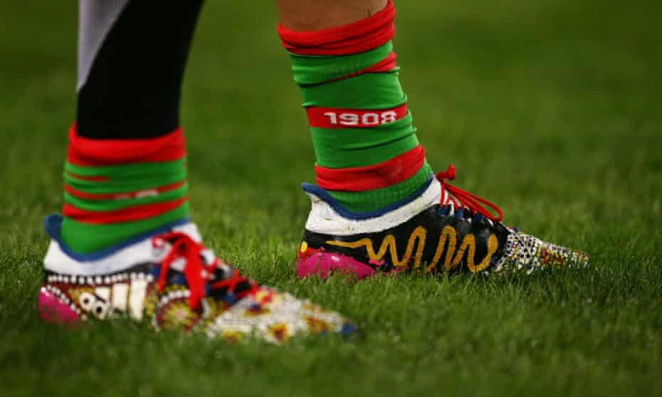 Indigenous artwork on the boots of South Sydney Rabbitohs rugby league player Angus Crichton.