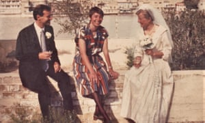 A British School wedding. Roger and Wendy Matthews married in Baghdad in 1988 in the same week that Roger was made director of the British School. Pictured here on the banks of the Tigris with Jane Moon (centre).
