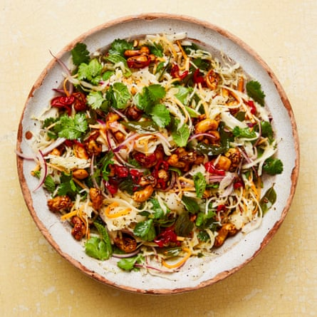 Yotam Ottolenghi's lime and poppy seed slaw with curry leaf oil.