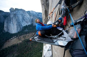 Tommy and Kevin on a portaledge on the Dawn Wall