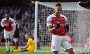 Arsenal's Pierre-Emerick Aubameyang celebrates scoring his second goal