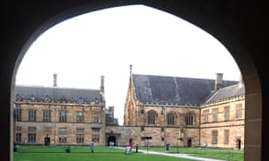 A student reads at the Quadrangle of the University of Sydney.