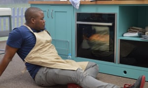 Selasi, reclining on the floor of the Bake Off tent.