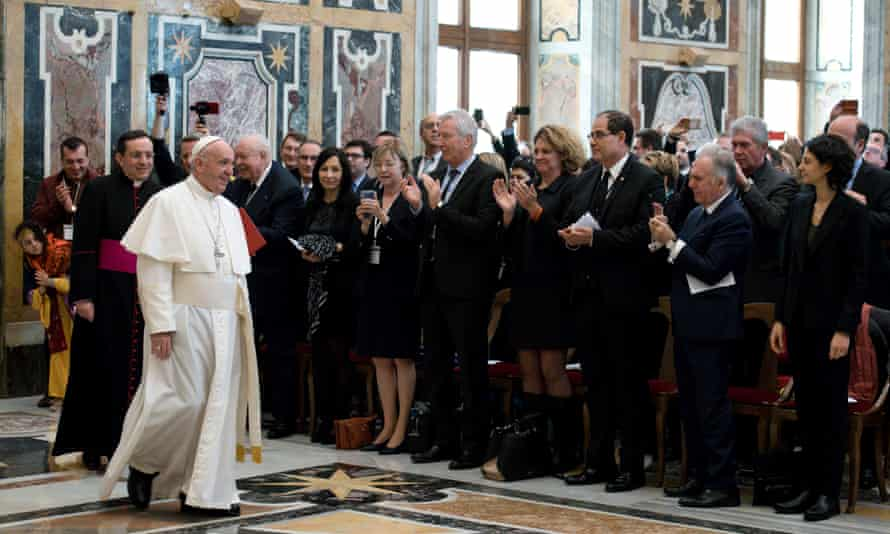 Pope Francis arrives to attend a special audience, with politicians of the province of Marseilles, at the Vatican