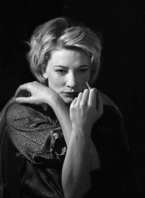 Cate Blanchett preparing to appear in Hare's Plenty at the Albery (now the Noël Coward theatre) in 1999 Read our review