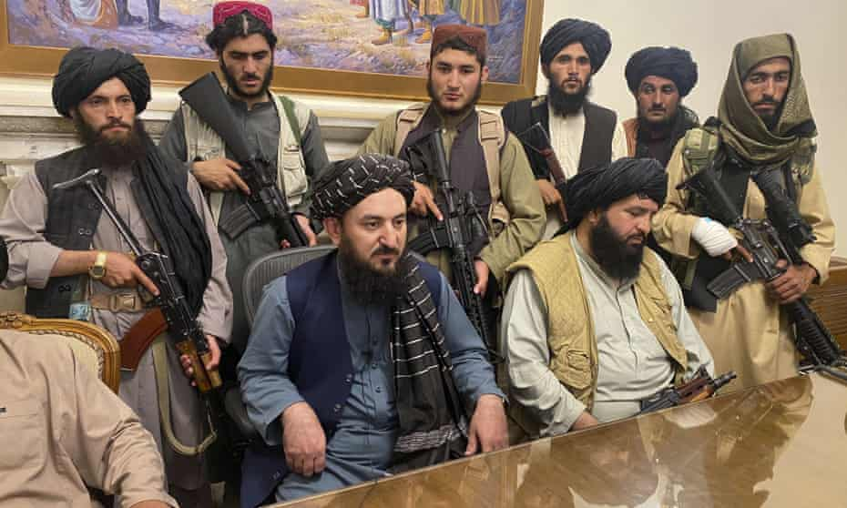 Taliban fighters take control of presidential palace in Kabul after the Afghan President, Ashraf Ghani fled the country