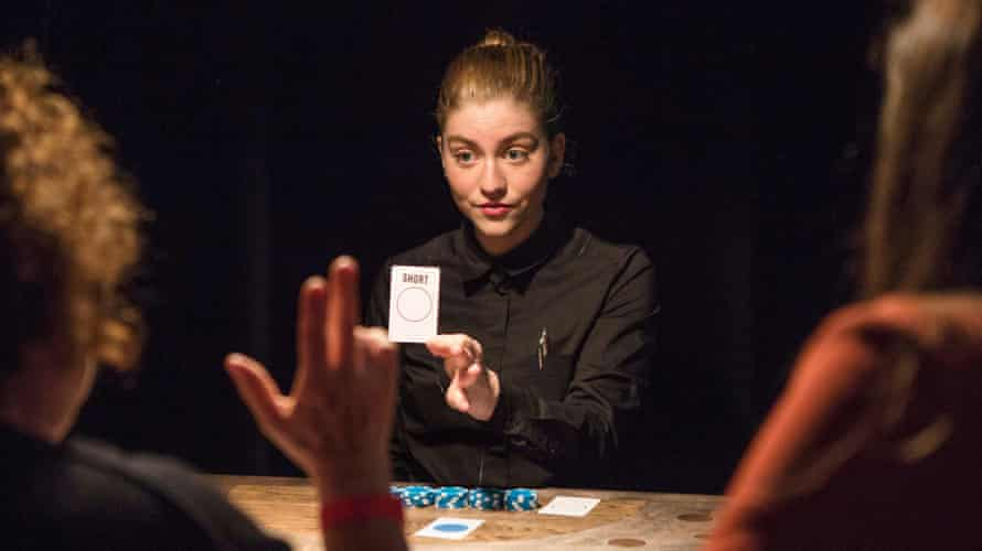Charlotte de Bruyne as the croupier in Lies, in which the audience sit at tables in a casino