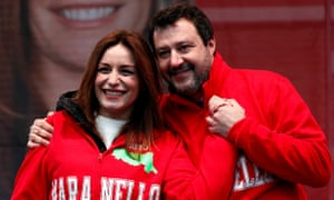 Lucia Borgonzoni, the rightwing coalition candidate for president of Emilia-Romagna, with the League's leader, Matteo Salvini