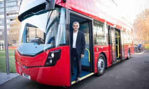 London mayor Sadiq Khan unveiling the world's first hydrogen double-decker bus