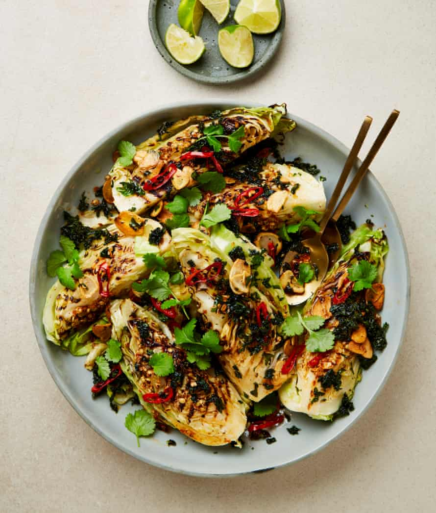 Yotam Ottolenghi's grilled hispi cabbage with coriander, garlic, chilli and lime oil.