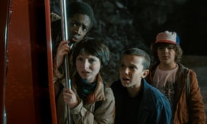 Freaks and geeks … (from left) Caleb McLaughlin, Finn Wolfhard, Millie Bobby Brown and Gaten Matarazzo in Stranger Things.