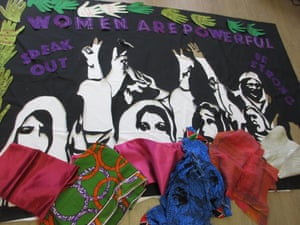 Banner made by Scottish Refugee Council in partnership with Glasgow Womens' Library, Scotland, working with artist Paria Goodarzi and local refugee women